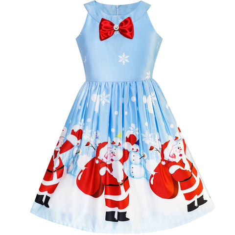 Girls Dress Blue Christmas Santa Snow Xmas Tree Party Size 7-14 Years