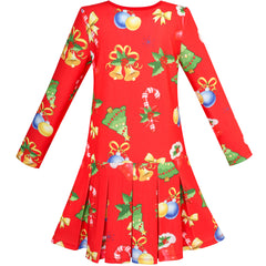 Girls Dress Red Christmas Tree X-mas Jingle Bell Holiday Size 4-10 Years