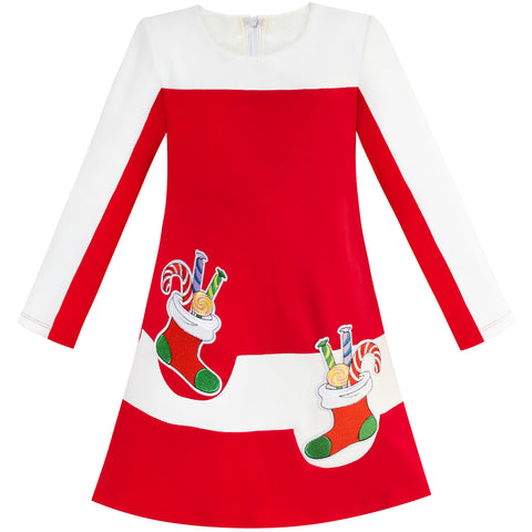 Girls Dress Red Christmas Stockings Xmas Candy Canes Year Size 5-12 Years