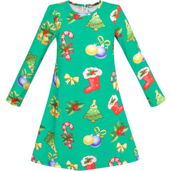 Girls Dress Green Christmas Candy Canes X-mas Tree Size 3-10 Years