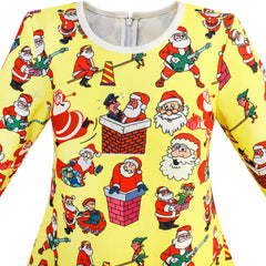 Girls Dress Yellow Christmas Santa In Chimney Seesaw Size 3-10 Years