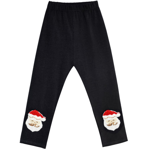 Girls Pants Leggings Black Christmas Santa Embroidered Size 2-6 Years