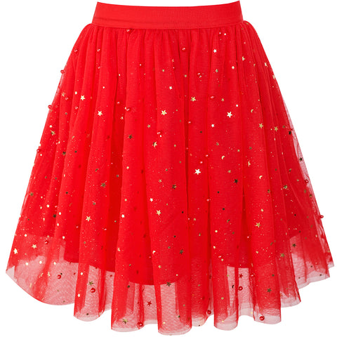 Girls Skirt Red Pearl Stars Sparkling Tutu Dancing Size 4-12 Years