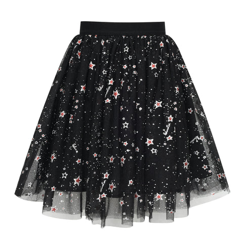 Girls Skirt Black Red Pearl Stars Sparkling Tutu Dancing Size 4-12 Years
