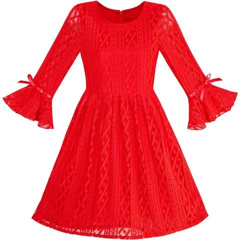 Girls Dress Red Lotus Sleeve Lace Princess Party Dress Size 5-12 Years