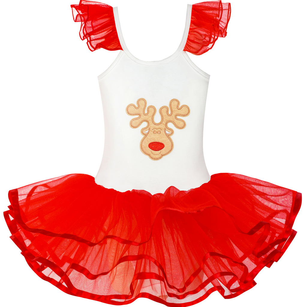 Girls Dress Cute Tutu Dancing Red Reindeer Ball Size 2-8 Years