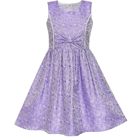 Girls Dress Purple Bow Tie Jacquard Fit And Flare Princess Size 5-12 Years
