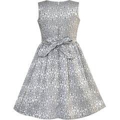Girls Dress Gray Bow Tie Jacquard Fit And Flare Princess Size 5-12 Years