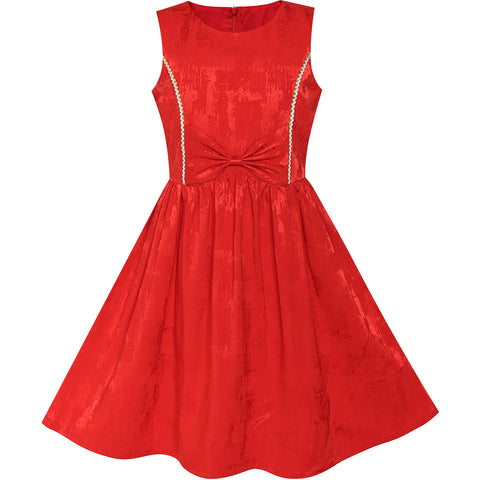 Girls Dress Red Bow Tie Jacquard Fit And Flare Princess Size 5-12 Years