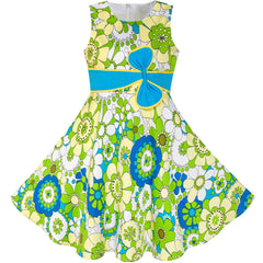 Girls Dress Sunhat Green Bow Tie Summer Size 4-12 Years