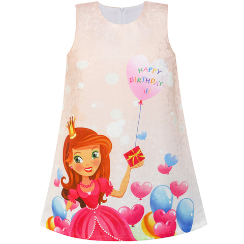 Girls Dress Birthday Princess Balloon Party A-line Dress Size 1-7 Years
