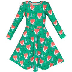 Girls Dress Green Forest Red Fox Long Sleeve Size 4-10 Years