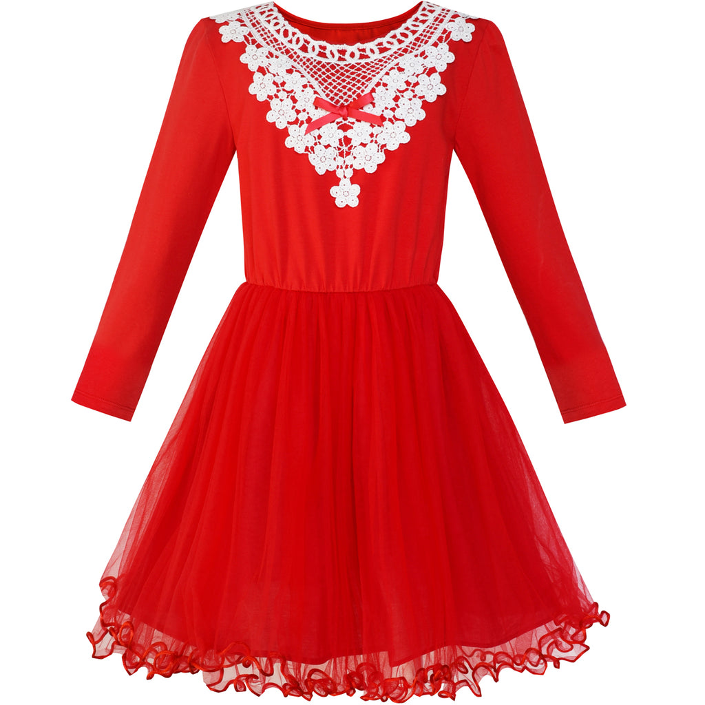 Girls Dress Red Long Sleeve White Lace Collar Tutu Dress Size 5-10 Years