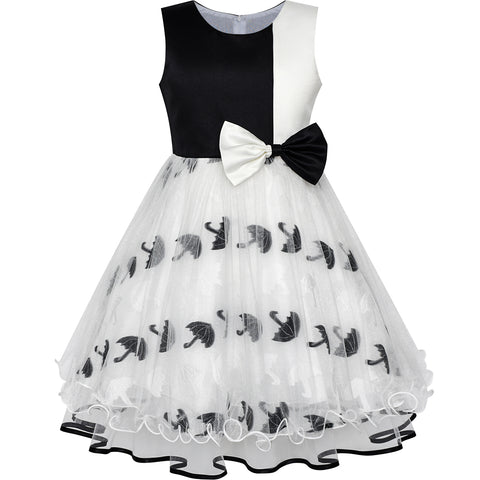 Girls Dress Bow Tie Black White Color Contrast Umbrella Size 4-12 Years