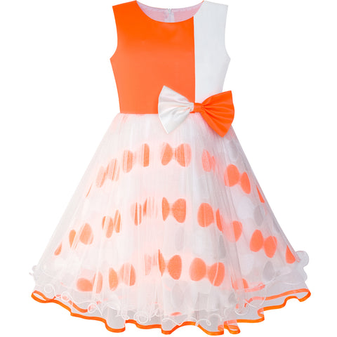 Girls Dress Bow Tie Orange White Color Contrast Size 4-12 Years