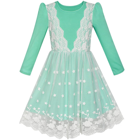 Girls Dress Turquoise Long Sleeve Lace 2-in-1 Princess Tutu Size 5-12 Years