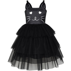 Girls Dress Cat Face Black Tower Ruffle Dancing Party Size 4-10 Years