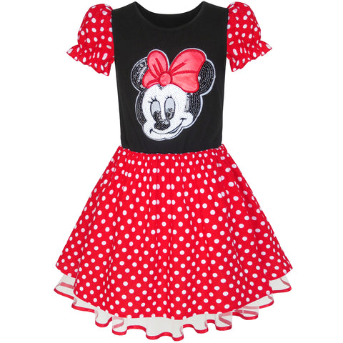Girls Dress Cartoon Red White Dot Tulle Hem Princess Dress Size 6-12 Years