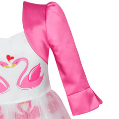 Girls Dress 2-in-1 Bolero Elegant Swan Party Dress Size 4-10 Years