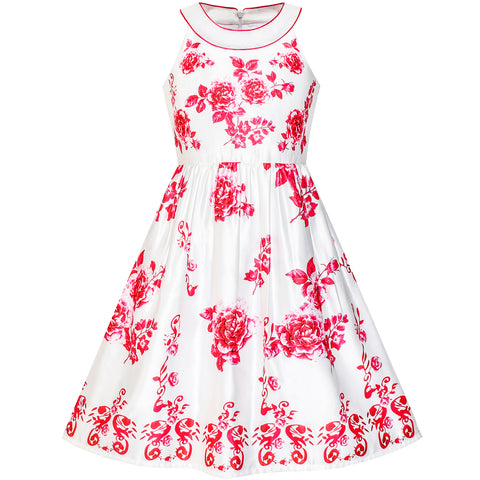 Girls Dress Red Flower Halter Flare Dress Princess Size 5-14 Years