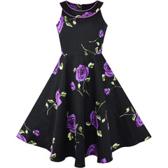 Girls Dress Black And Purple Flower Halter Dress Size 7-14 Years