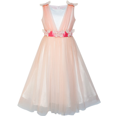 Flower Girls Dress Peach Ruffle Butterfly Wedding Bridesmaid Size 6-14 Years