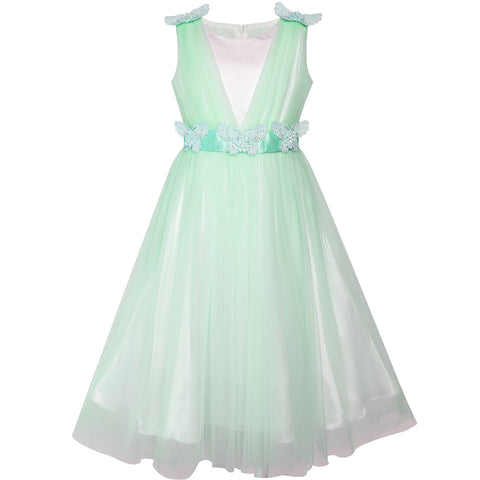 Flower Girls Dress Light Cyan Ruffle Butterfly Wedding Size 6-14 Years