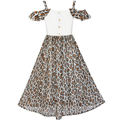 Girls Dress Chiffon Leopard Print Cold Shoulder Maxi Dress Size 7-14 Years