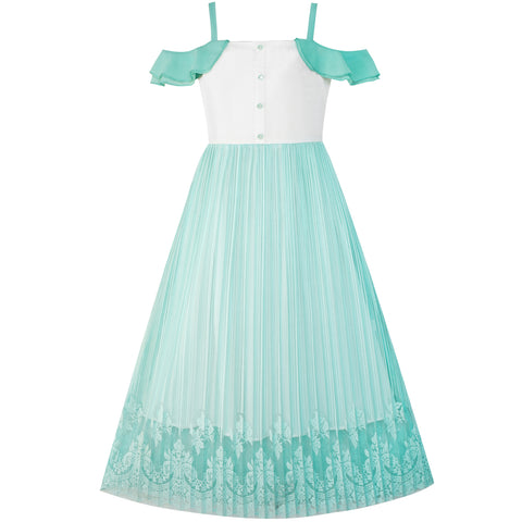 Girls Dress Lace Pleated Cold Shoulder Maxi Dress Size 5-12 Years