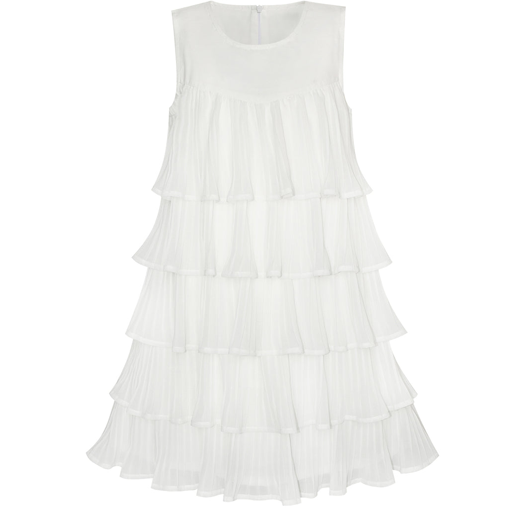 Girls Dress A-line Off White Tower Skirt Princess Size 6-12 Years