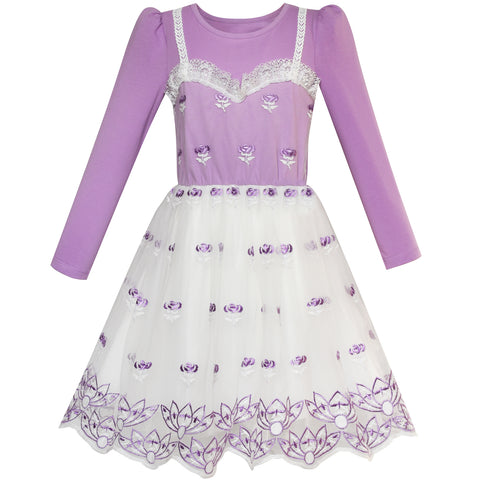 Girls Dress Purple Long Sleeve Lace Vest 2-in-1 Tutu Size 5-12 Years