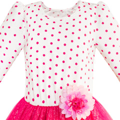 Girls Dress Rose Pink Long Sleeve Dot Flower Tutu Dress Size 5-12 Years