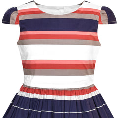 Girls Dress Stripe Flower Cap Sleeve Cotton Dress Size 2-8 Years