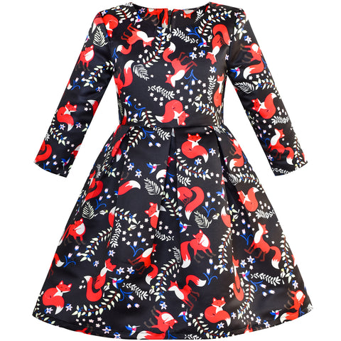 Girls Dress Red Fox Stain Flare Dress 3/4 Sleeve Size 4-14 Years