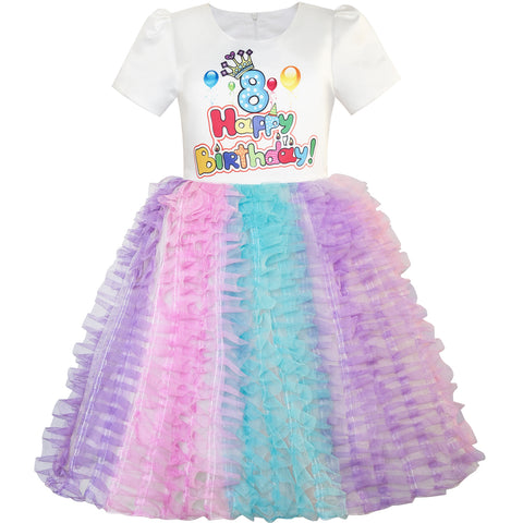 Girls Dress Happy Birthday Princess Party 1st Birthday Tutu Dress Size 1-8 Years
