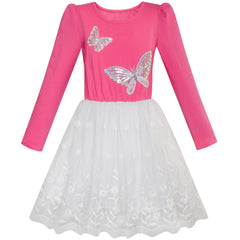 Girls Dress Rose Pink Long Sleeve Butterfly Lace Tutu Size 5-12 Years