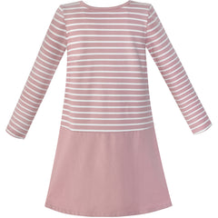 Girls Dress Stripe Cartoon Embroidery Long Sleeve Cotton Dress Size 4-10 Years