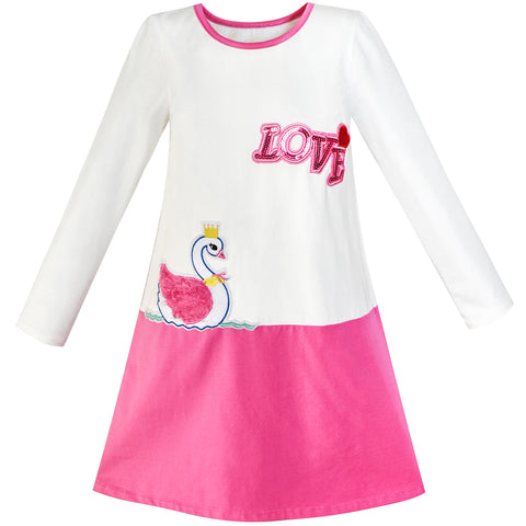 Girls Dress Duck Embroidery Long Sleeve Color Contrast Cotton Size 5-10 Years