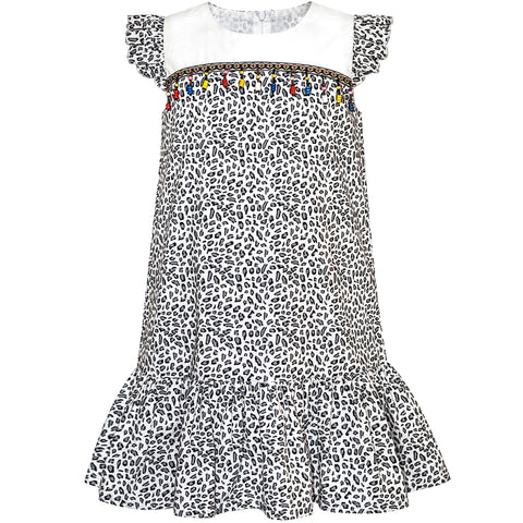 Girls Dress Ruffle Skirt Leopard Print Black And White Size 4-8 Years