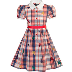 Girls Dress School Foot Hand Print Embroidery Gingham Size 4-10 Years