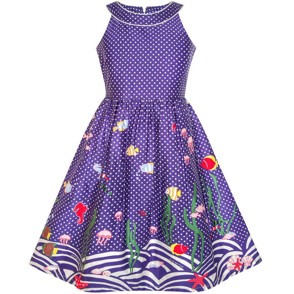 Girls Dress Navy Blue Dot Sea Fish Ocean Beach Halter Dress Size 5-14 Years