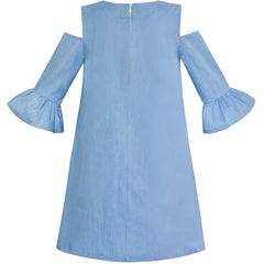 Girls Cold Shoulder Dress Denim Blue Cowboy 3/4 Sleeve Size 6-12 Years