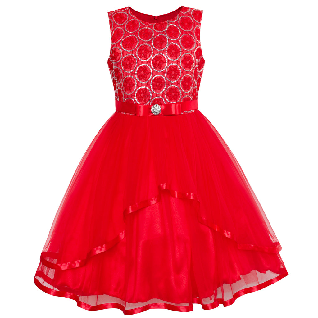 9d671f5e397b Flower Girl Dress Red Sequin Mesh Red Holiday Dress – Sunny Fashion