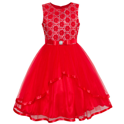 Flower Girl Dress Red Sequin Mesh Red Holiday Dress Size 4-12 Years