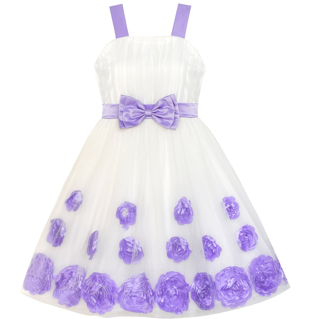 Flower Girl Dress Purple Bow Tie Pageant Wedding Size 5-12 Years