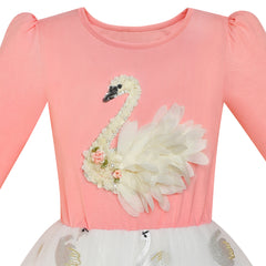 Girls Dress Blush Pink Long Sleeve Swan Princess Tutu Size 5-12 Years