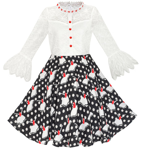 Girls Dress Lace Pearl Bell Sleeve Elegant Princess Dress Size 7-14 Years