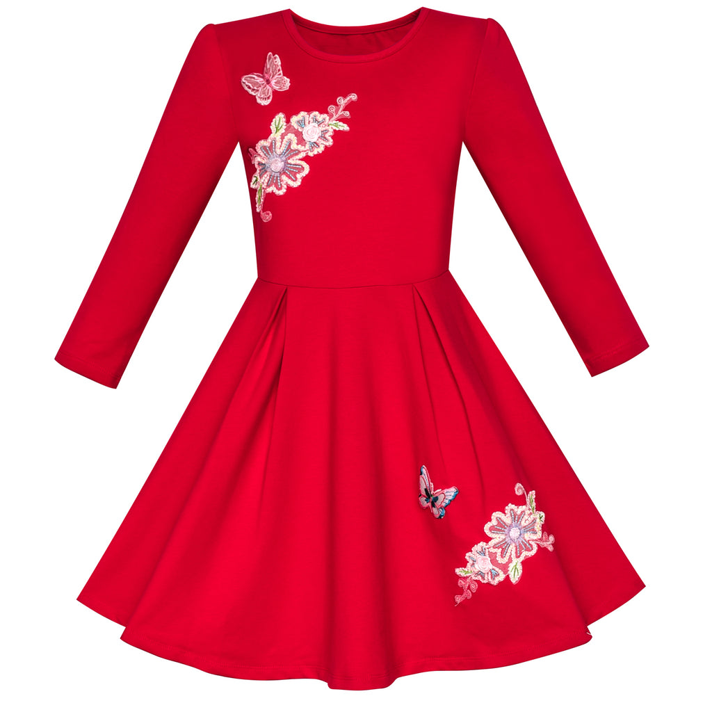 Girls Dress Red Long Sleeve Embroidered Holiday Christmas Dress Size 5 10 Years