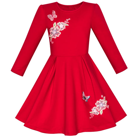 Girls Dress Red Long Sleeve Embroidered Holiday Christmas Dress Size 5-10 Years