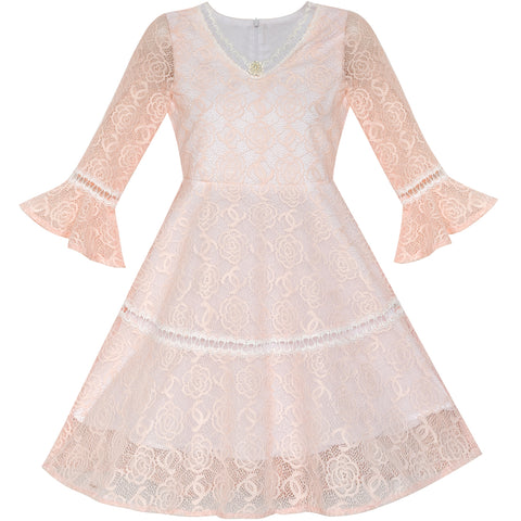 Flower Girl Dress Lace Blush Pink Bell Sleeve Party Size 6-14 Years